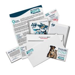Digital print and copy examples including notepad, envelope, letter, thank you card