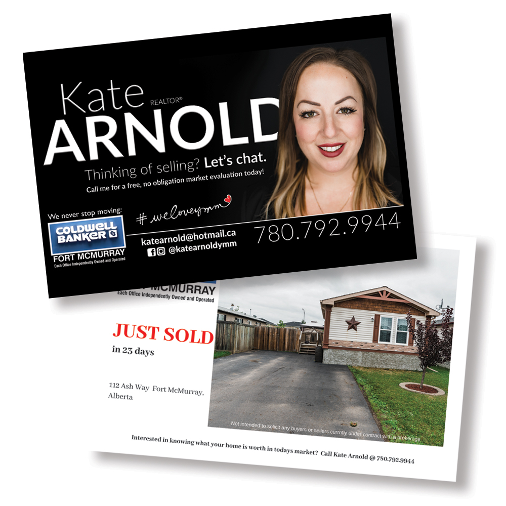 Business cards for real estate agent - front and back