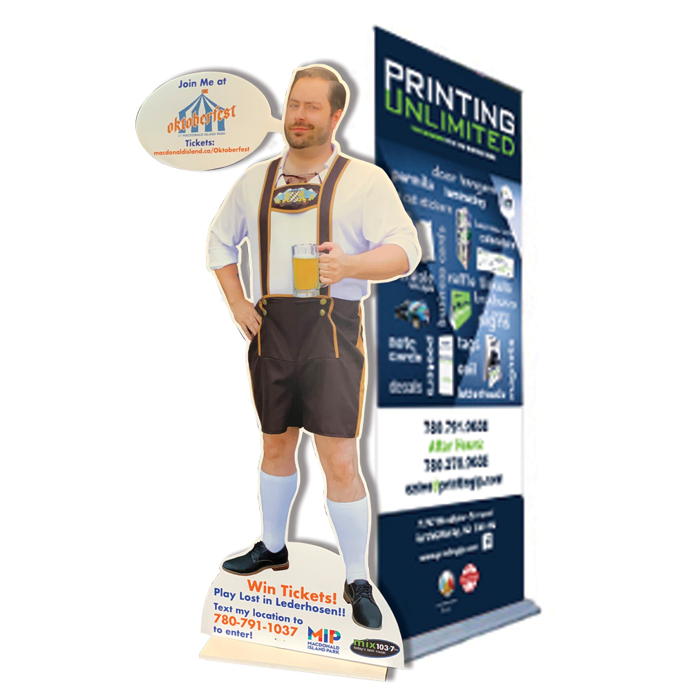 Wide format print examples of a coroplast sign and a pull up banner