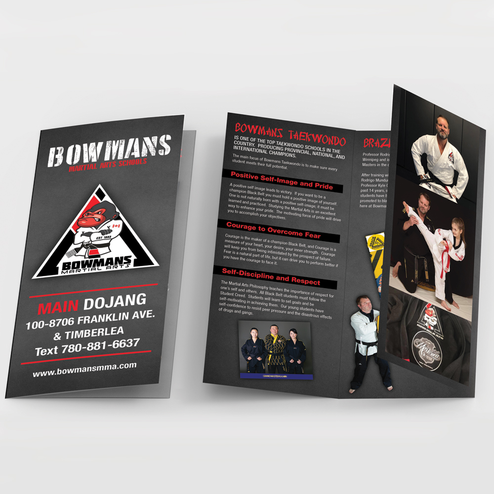 Offset printing brochure example for Bowman's Main Dojang in Fort McMurray.