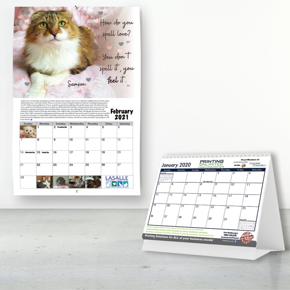 Offset printing calendar example of a cat calendar