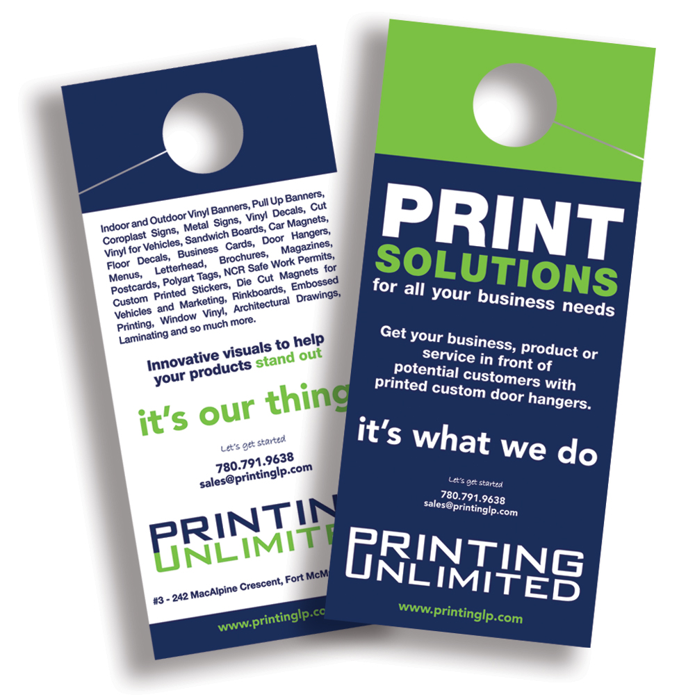 Two offset printing door hanger examples in green, white and black