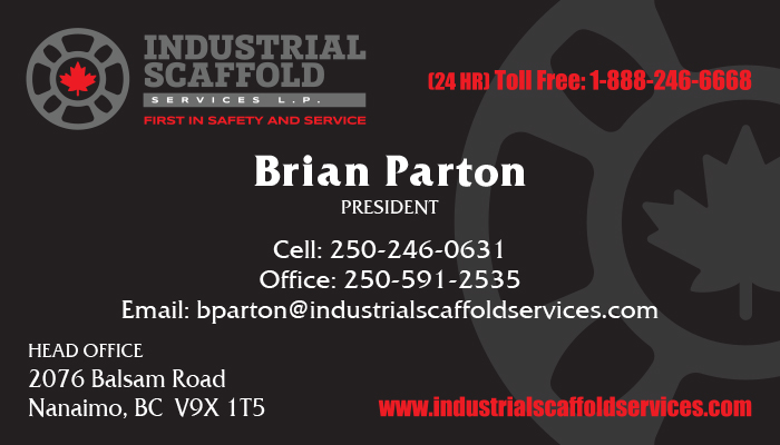 The front of a black, red and grey business card for business networking for an industrial scaffold company, printed by Printing Unlimited in Fort McMurray