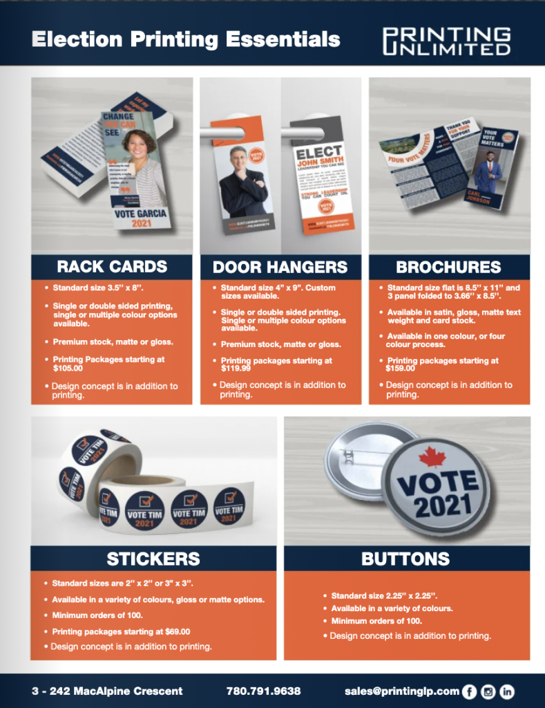 The third page in Printing Unlimited's election printing brochure which contains information on smaller printing products such as stickers and buttons.